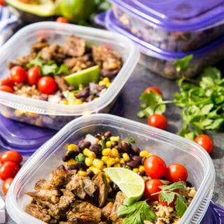 Easy Pork Carnitas Meal Prep Bowls, crock pot of instant pot