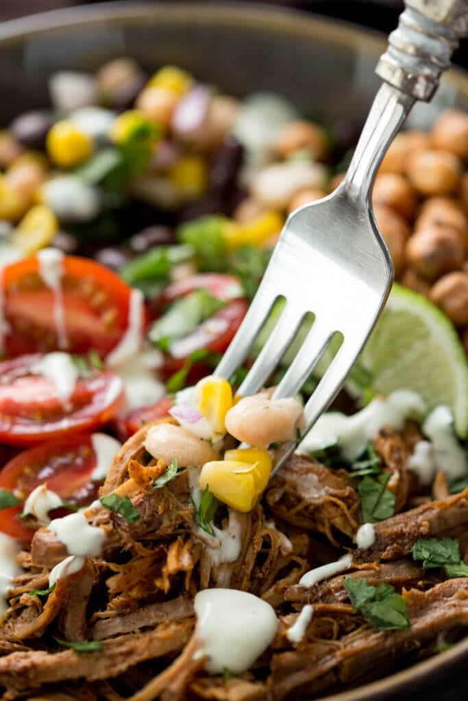 Dig into this pulled pork protein bowl