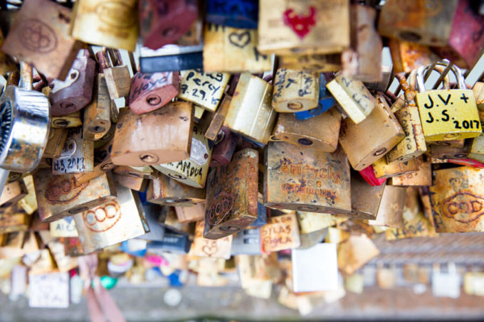 Lovers locks on the streets of Paris