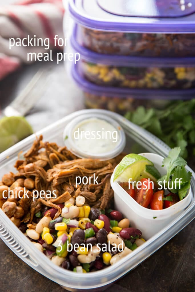 Meal prep bowls are so fun and easy, this one is protein packed and full of pork, bean salad, and more