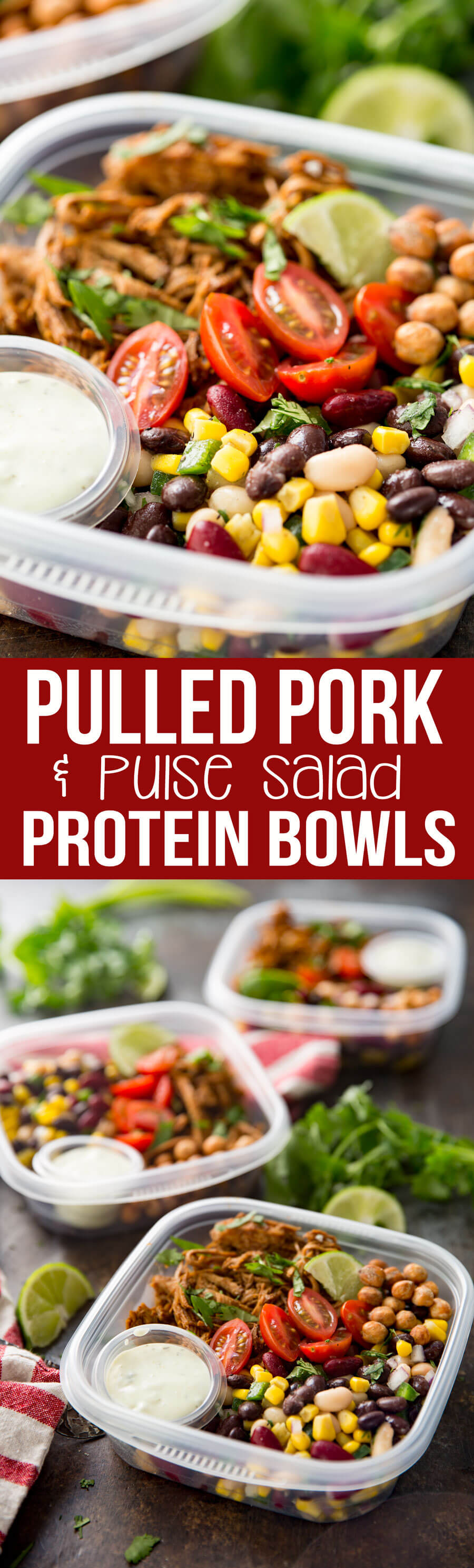 Pulled Pork Pulse Protein Bowl cooked in instant pot and easy to make meal prep