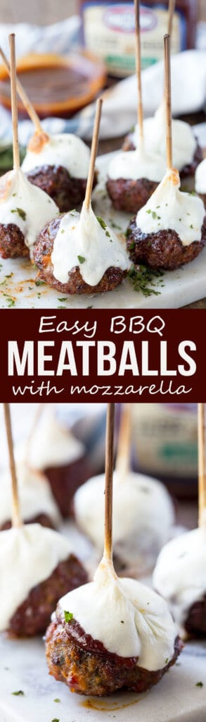 Hickory Smoked BBQ Meatballs with Mozzarella
