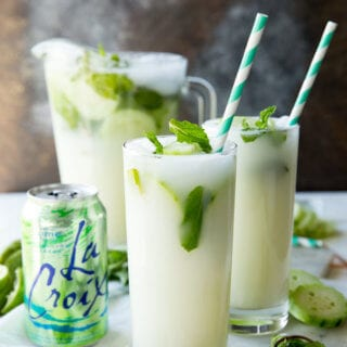 Cucumber Mint Mojito pitcher and glasses