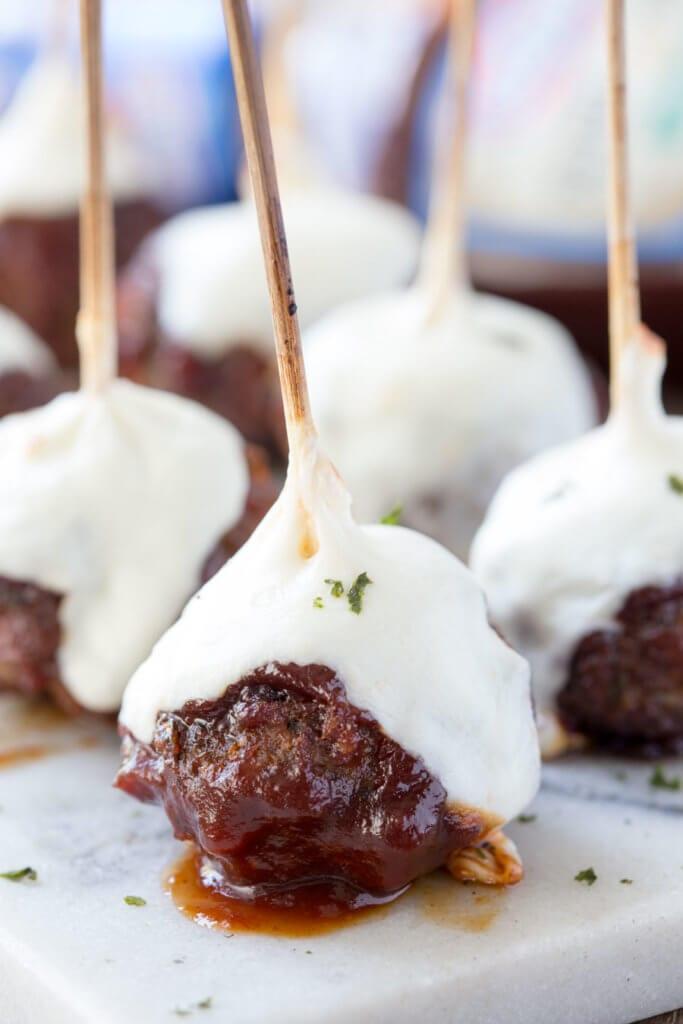 Hickory Smoked BBQ Meatballs with Mozzarella