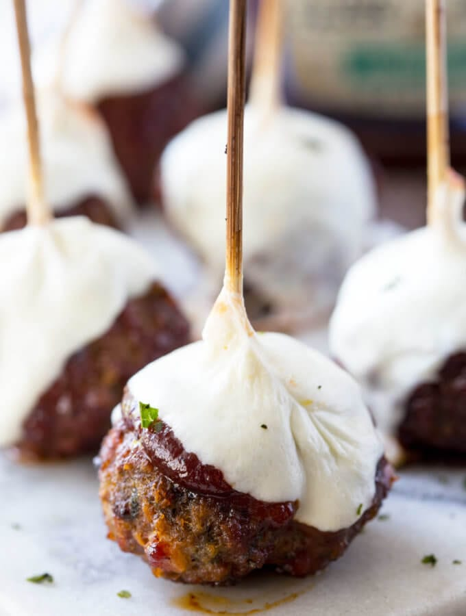 Smoked Hickory Meatball Skewers with Mozzarella