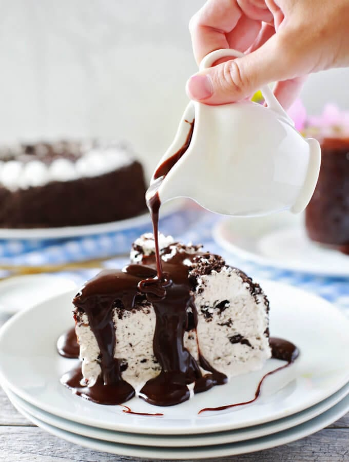 Chocolate Hazelnut Hot Fudge Sauce on ice cream cake