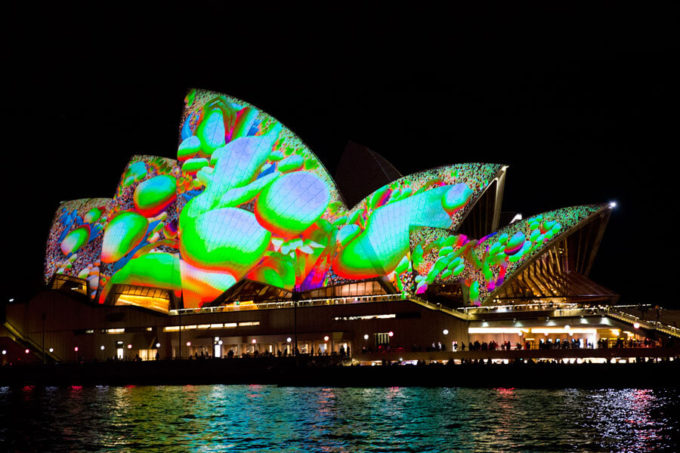 VIvid Sydney lights from our Harbour Cruise
