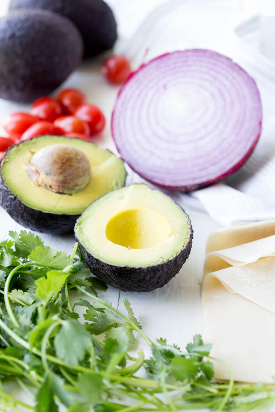 Avocado Egg Roll with creamy avocado ranch dipping sauce