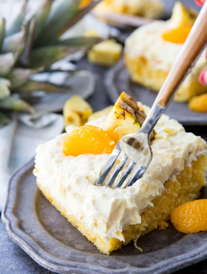 Mandarin Orange Cake with Pineapple Fluff Frosting