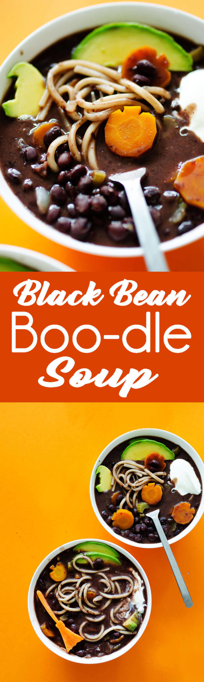 "Black Blean Noodle Soup with fun halloween shapes to make it ""scary good"" soup for Halloween."