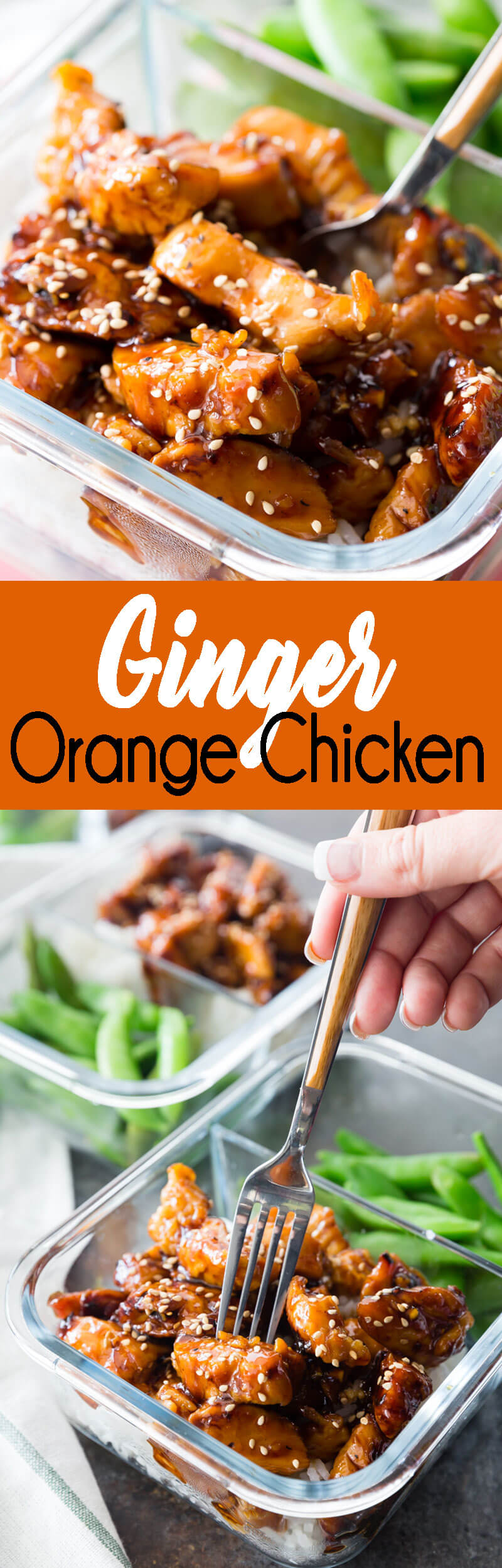 GInger Orange Chicken meal prep is a great make ahead lunch option