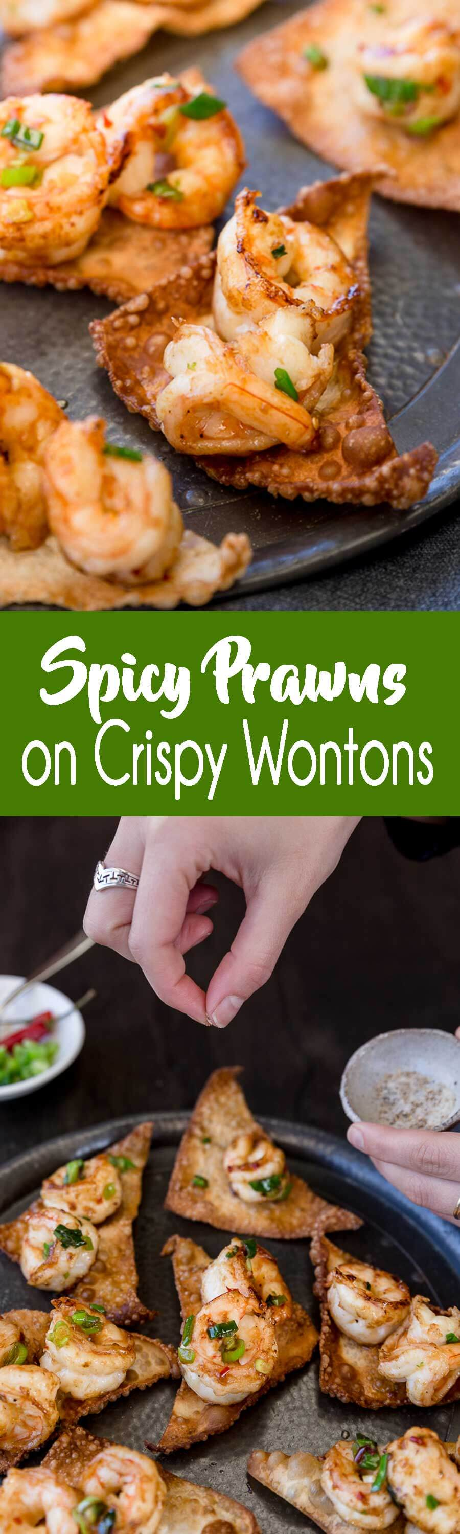 This appetizer always disappears first at parties and football games, spicy prawns on crispy wontons! Our favorite!