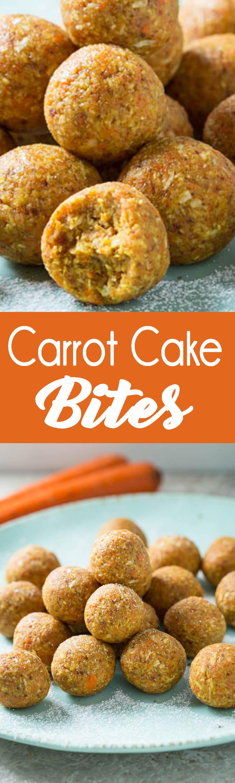 Easy to make carrot cake bites, taste like dessert, but are pretty darn healthy!
