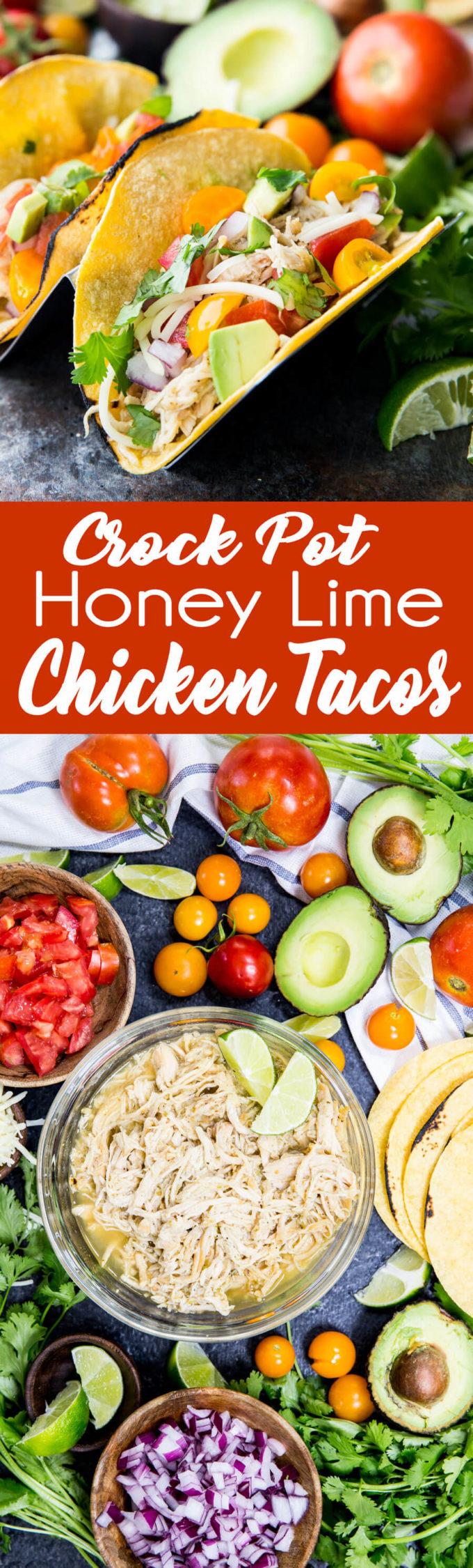 This crock pot or slow cooker honey lime chicken tacos recipe is the best thing ever. Super flavorful chicken, and a perfect party food.