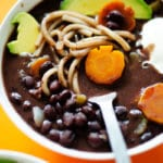 This Black Bean Boo-dle Soup is as spooky as it is delicious! With creamy black beans, flavorful veggies, and thick noodles, it's the quick and tasty dinner you need to serve up this Halloween.