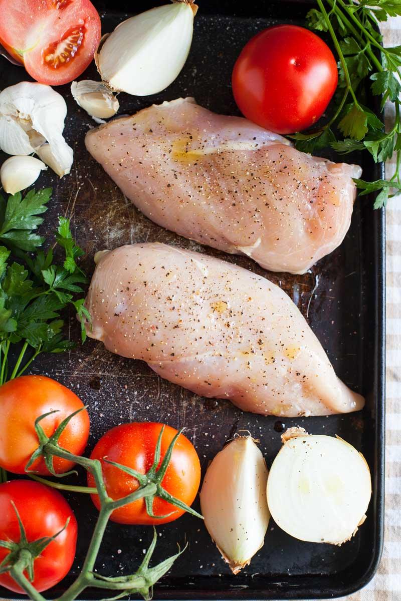 roast chicken with sheet pan tomato sauce