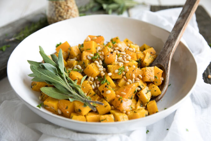 5 Ingredient Oven Roasted Garlic and Herb Butternut Squash with Pine Nuts