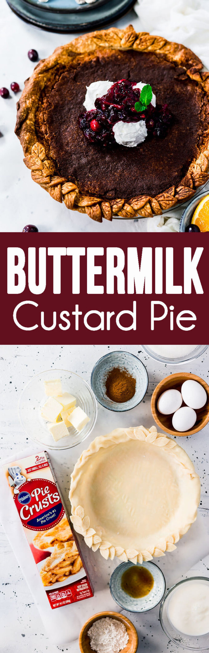 Buttermilk Pie a family classic and favorite custard pie or vinegar pie