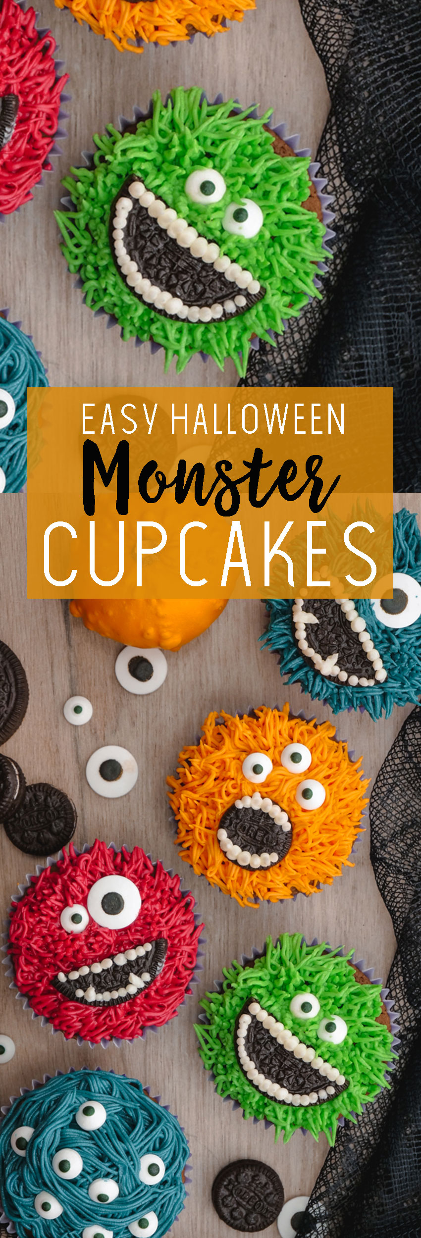 Easy Monster Cupcakes- Halloween cupcake ideas