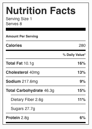 Cranberry Walnut Pie Nutrition Facts
