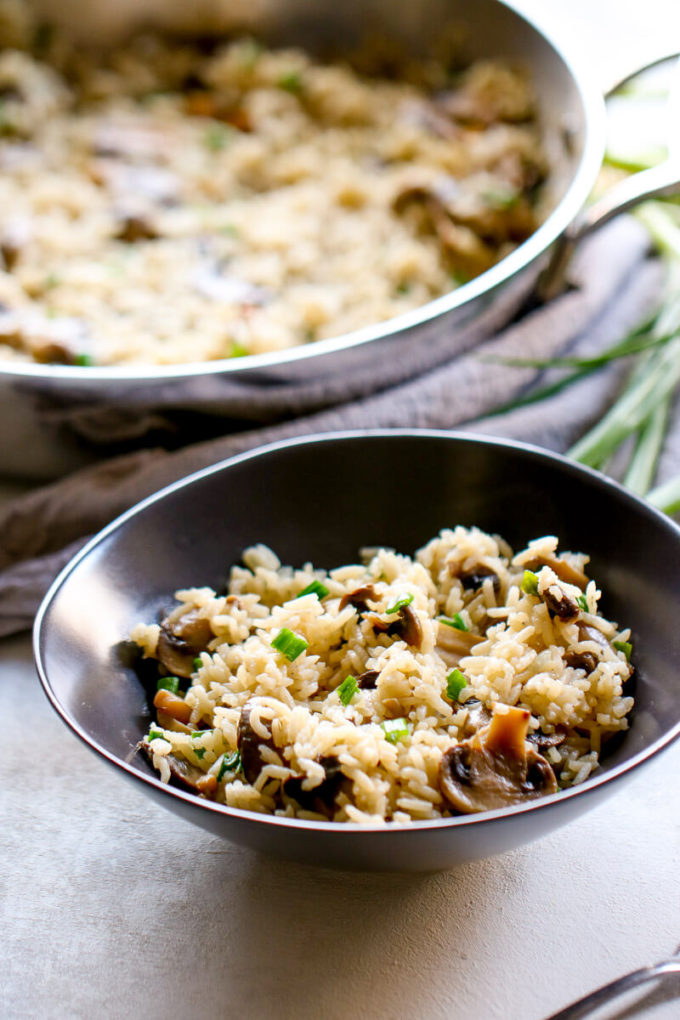 This Mushroom Rice Pilaf is the perfect earthy addition to your dinner table!