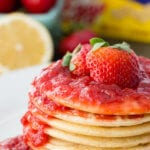 Pancakes with homemade strawberry syrup, this syrup is amazing!