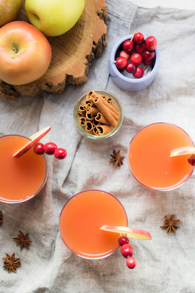 Perfectly sweet and spicy warm mulled cranberry apple cider