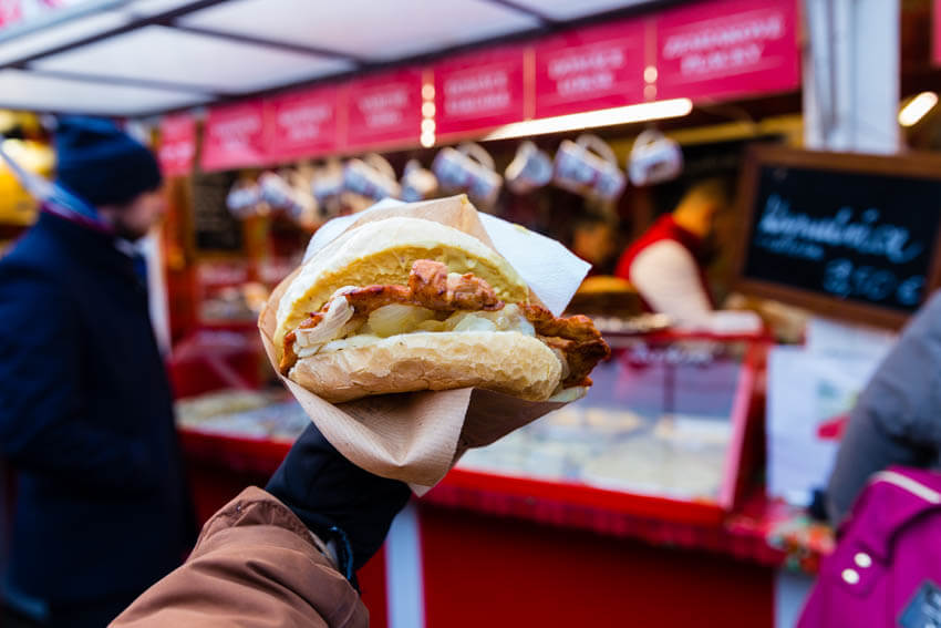 The ultimate chicken sandwich from a Christmas market in Bratislava, Slovakia