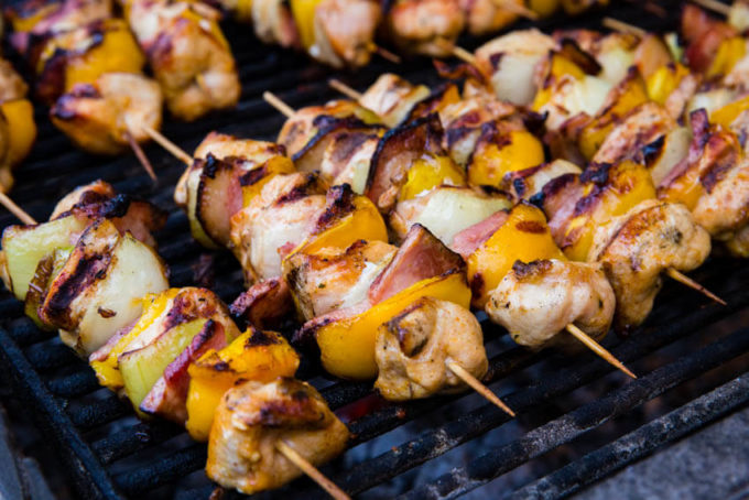 Amazing skewers, tons of good things to eat at the European Christmas Markets