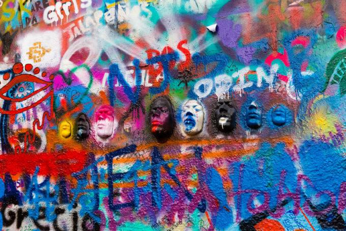 Faces on the John Lennon wall