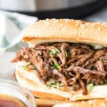 Instant Pot French Dip sandwiches. Cooked in a pressure cooker