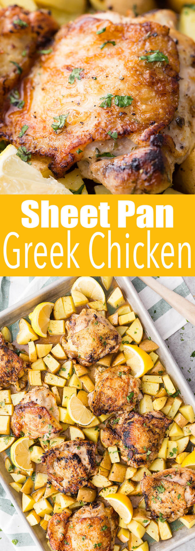 Sheet Pan Greek Chicken: This delicious chicken and potato dinner is so easy and quick to make and loaded with flavor!