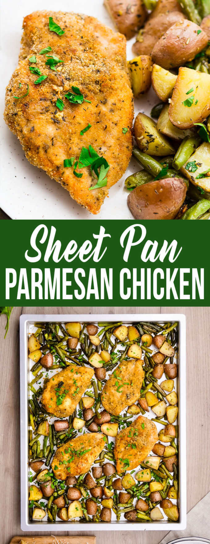 Parmesan Chicken and Veggies: Tasty, simple, and quick and efficient 5-star meal on a baking sheet.