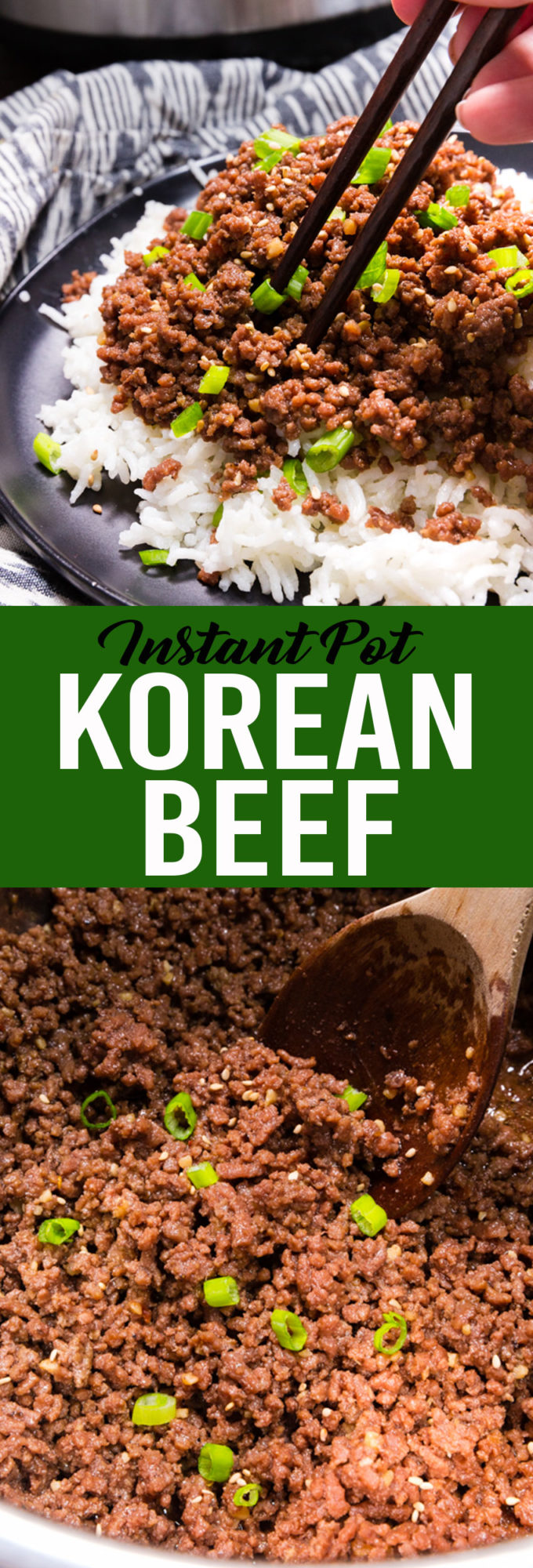 Easy to make sweet and spicy Korean Beef made in the instant pot pressure cooker