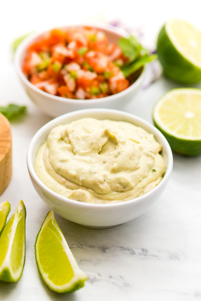 Avocado Creme sauce for Baja fish tacos. Lightened up delicious Baja Fish Tacos, so much flavor in these fish tacos