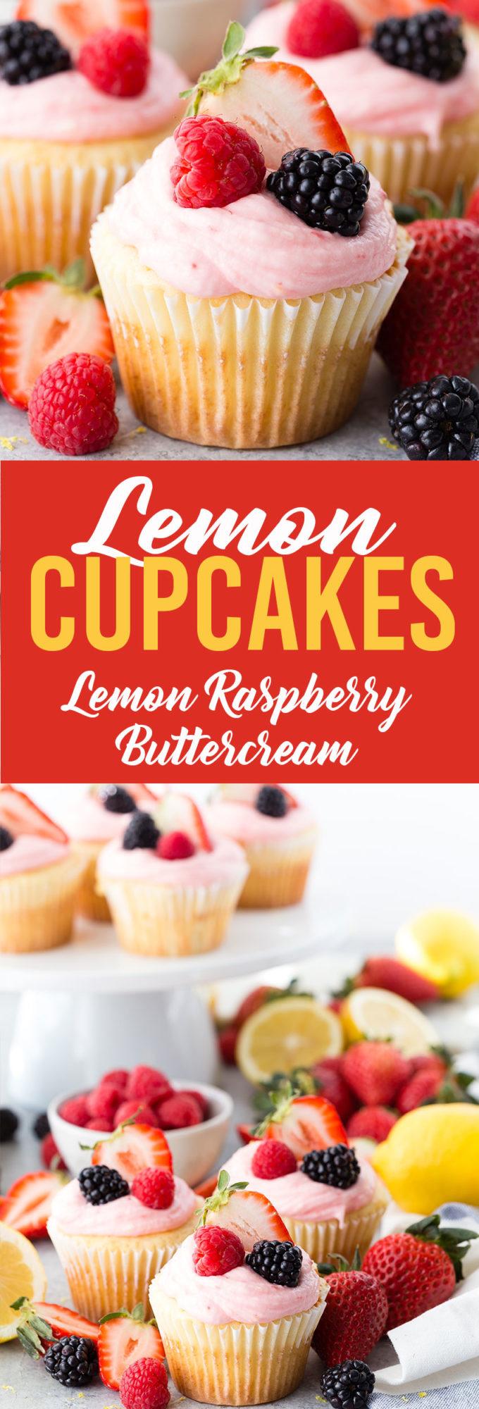 Lemon Cupcakes with Lemon Raspberry Buttercream