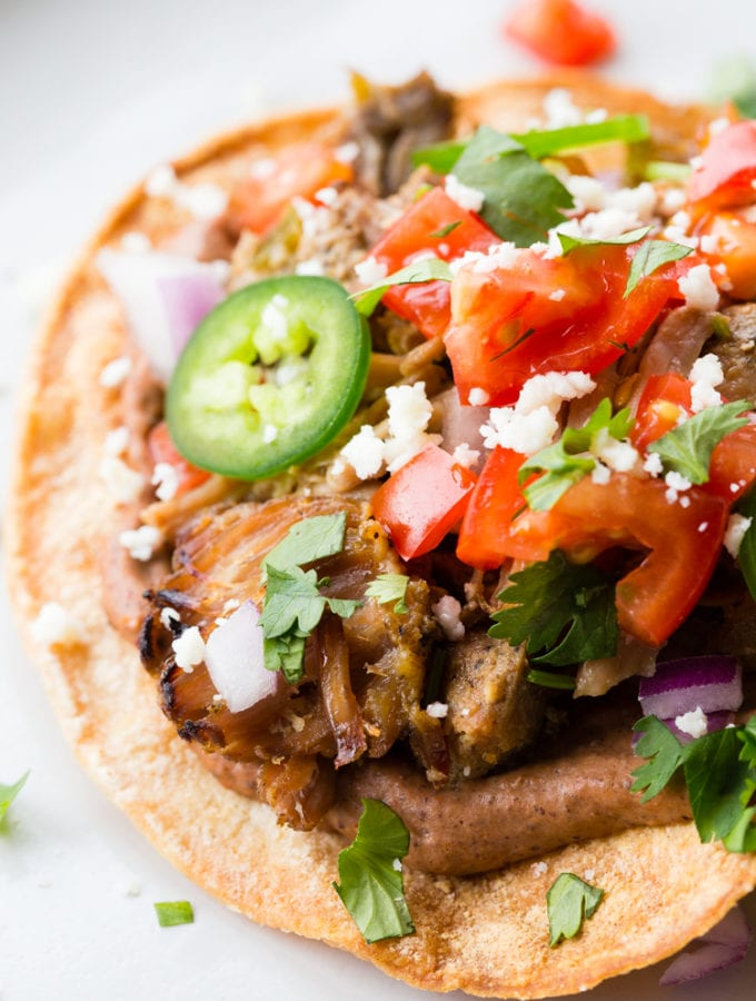 Carnitas Tostada (Slow Cooker Mexican Pulled Pork)