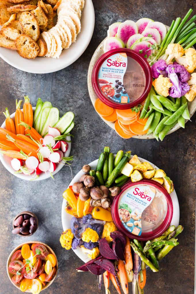 The new Sabra Mediterranean Bean Dips and vegetable crudite platters