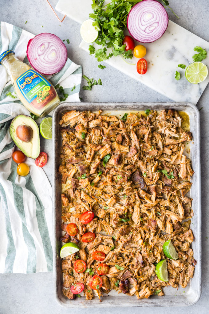 Easy slow cooker pork carnitas crisped in the broiler