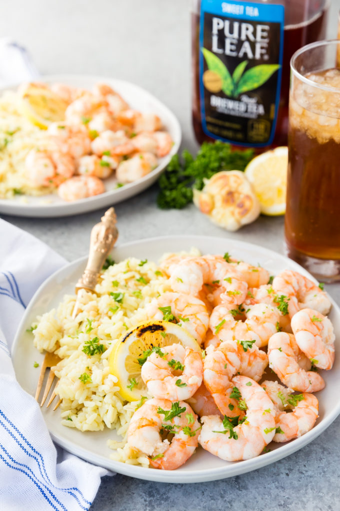 Plates of Garlic Butter Shrimp