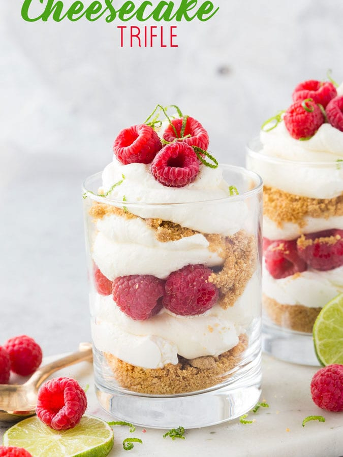 A delicious no bake summer dessert, raspberry cheesecake trifle