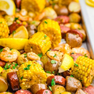 Low country shrimp boil, made on a sheet pan. Corn, potatoes, shrimp and sausage.