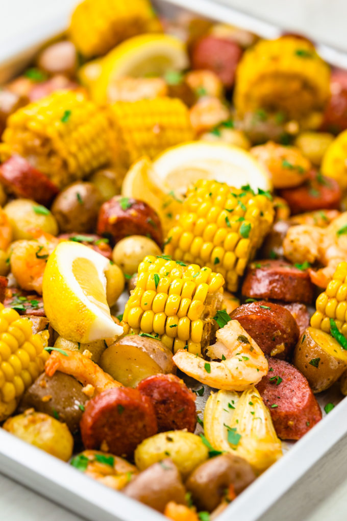 A sheet pan shrimp boil, your classic shrimp boil cooked in the oven.