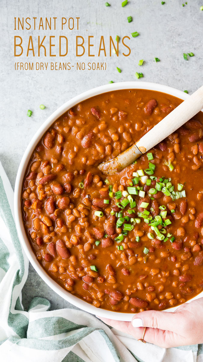 No soak Instant Pot Baked Beans, made from dry beans