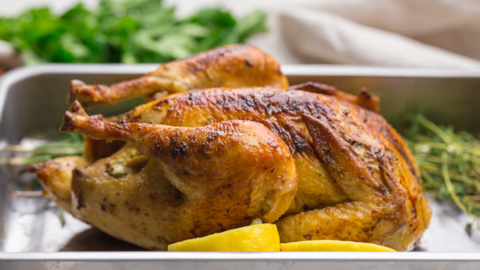 Crispy, golden skin oven roasted chicken