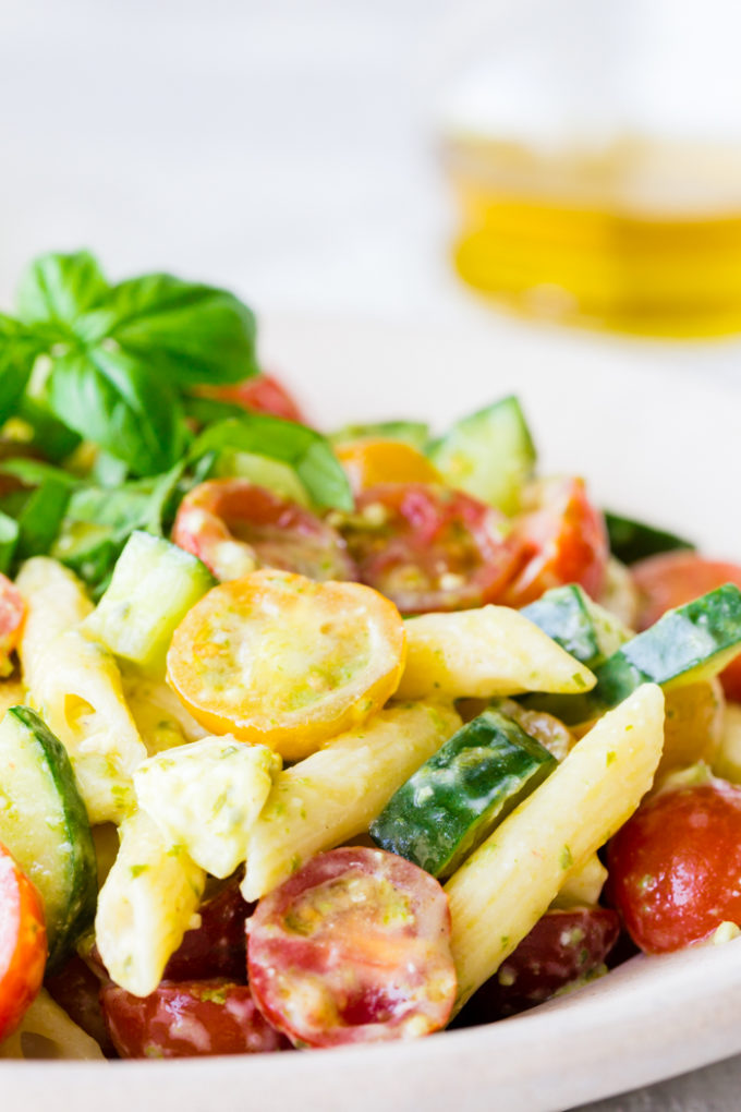 A bowl of delicious Italian Pasta Salad