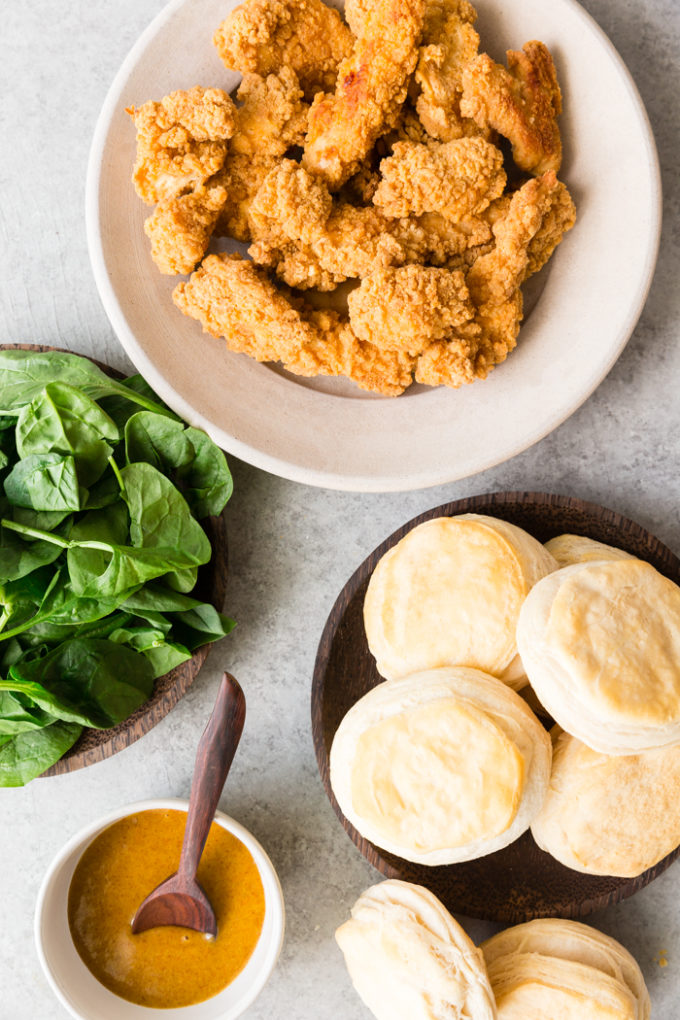 An easy to assemble buttermilk biscuit chicken sandwich ingredients