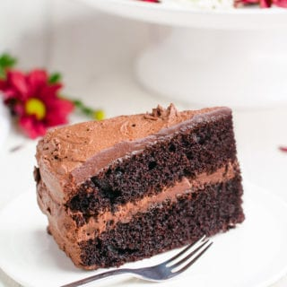 Amazing chocolate cake! A slice of chocolate cake on a white plate with a fork