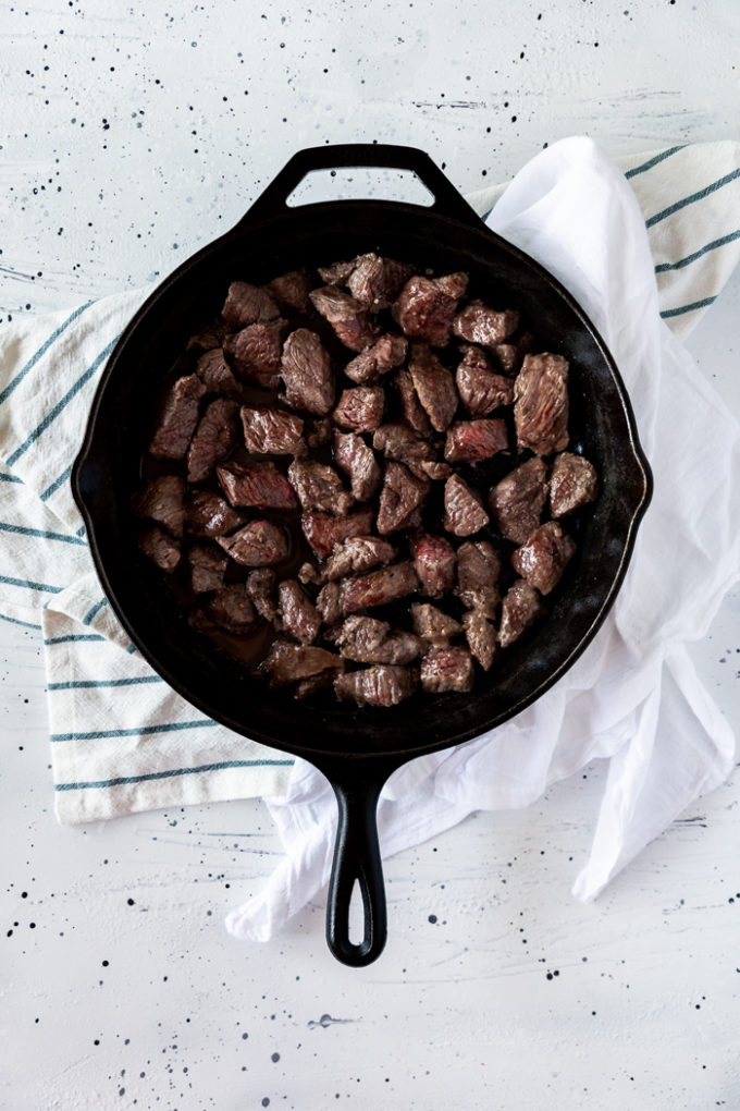 A skillet full of delicious beef tips
