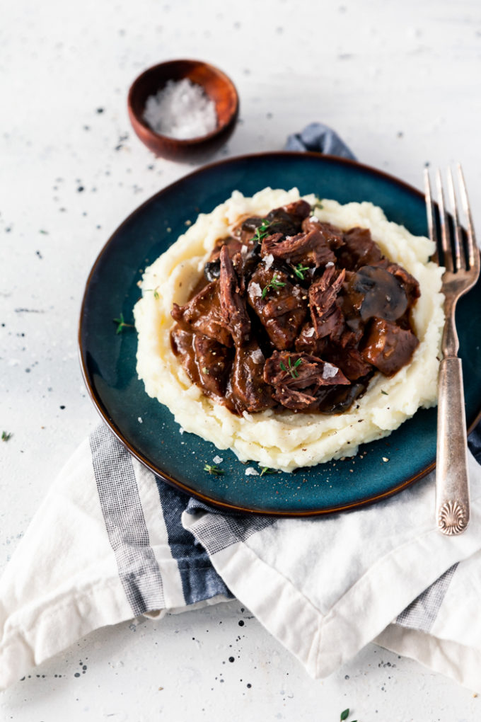 A plate of slow cooker beef tips and gravy